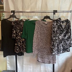5 Designer Dressy or Casual tops size large